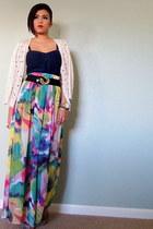 magenta Love skirt - navy denim energie top