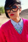 Hot-pink-knit-thrifted-sweater-light-blue-button-up-forever-21-shirt