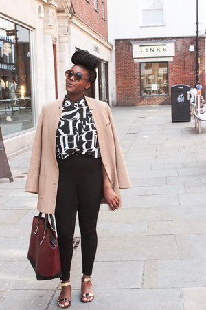 black Topshop leggings - tan H&M blazer - crimson Zara bag