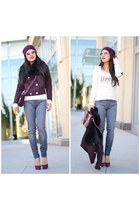 Juicy Couture coat - Hudson jeans - Wildfox sweater