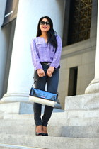 violet Joie blouse - charcoal gray skinny J Brand jeans - Miu Miu bag