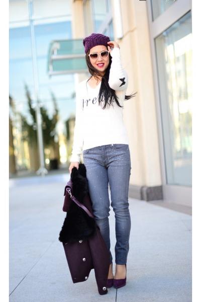 Hudson jeans - H&M hat - Wildfox sweater