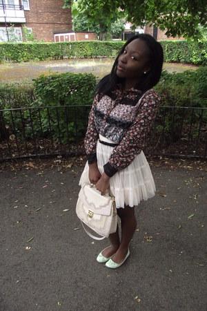 Primark flats - Dorothy Perkins bag - asos blouse - Topshop skirt
