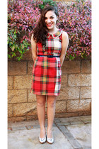 red plaid Vera Wang for Kohls dress - white miu miu DIY heels