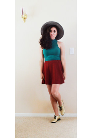 teal American Apparel top - navy Target hat - ruby red Forever 21 skirt