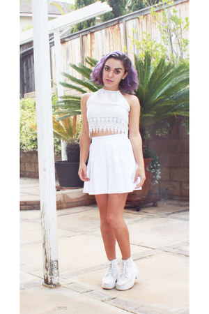 white asos boots - white Urban Outfitters top - white American Apparel skirt