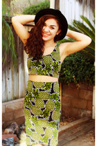 black Target hat - green H&M top - gold Target necklace - green H&M skirt