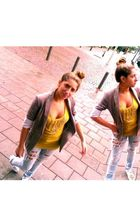 gray H&M Trend vest - gold Zara shirt - blue H&M Trend pants - white Primark sho