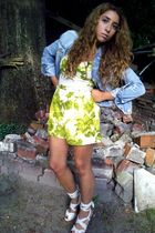 blue H&M vest - green Mango dress - white H&M shoes