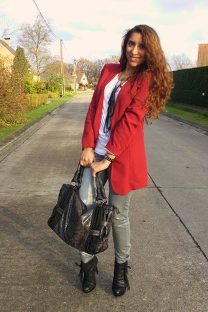 ruby red HM Trend blazer - silver HM Trend jeans - dark gray asos bag - black un