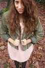 Army-green-hm-trend-jacket-light-pink-hm-trend-sweater-dark-gray-dim-tights-