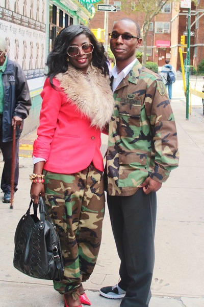 red H&M blazer - army green US Army pants