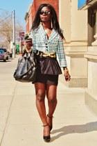 black peplum Zara skirt - blue tweed nobo jacket - black Pour La Victoire purse