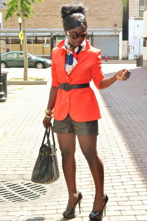 carrot orange Bracleys blazer - black leather shorts William Rats shorts