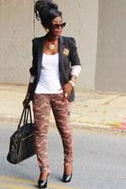 brown camouflage blank nyc jeans - black Zara blazer