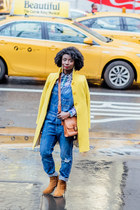 yellow wool Jcrew coat - brown crossbody coach purse