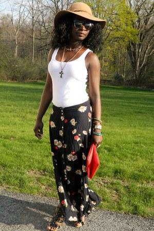 tan Jessica Simpson hat - white Forever 21 top - black vintage skirt