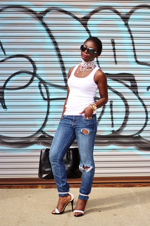 white asos necklace - blue 7 for all mankind jeans - white michael antonio heels