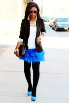 blue feather Zara skirt - black Express blazer