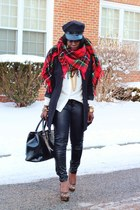 red plaid NYC scarf - black leather H&M pants