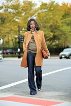 tan Jcrew coat - navy wide leg 7 for all mankind jeans