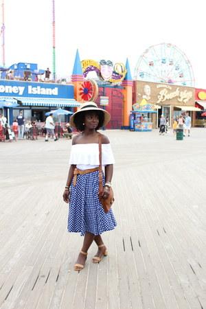 navy polka dot vintage skirt - white asos top