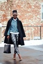 black Zara coat - black sequin Urban Outfitters pants