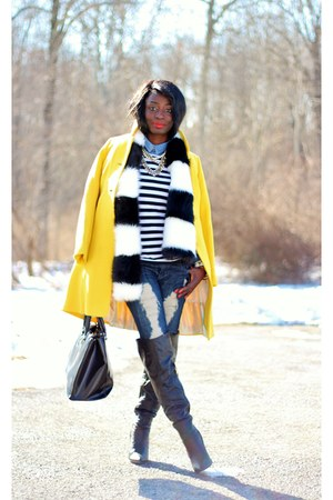 yellow wool JCrew coat - black faux fur H&M scarf