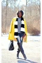 yellow wool JCrew coat - black faux fur H&M scarf