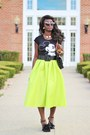 Chartreuse-midi-choies-skirt