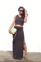 black crop BB Dakota top - black slit maxi BB Dakota skirt