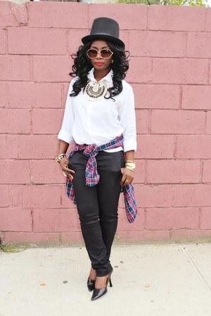white nicole miller shirt - black ann taylor pants