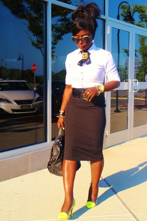 black pencil skirt marcys skirt - white NY&CO shirt