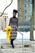black pencil skirt JOA skirt - yellow wool Jcrew coat