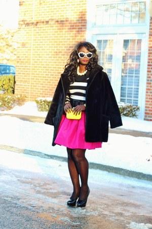 black faux fur vintage coat - white stripes Macys sweater