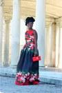 Red-floral-print-tahari-dress