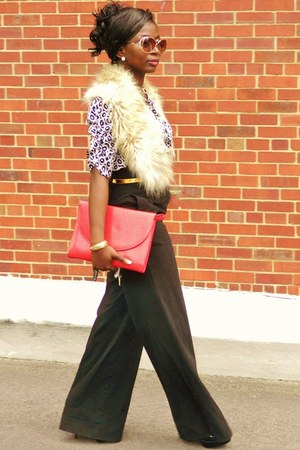 black mandees pants - beige H&M scarf