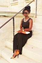 black cut out Forever 21 dress - carrot orange Zara heels