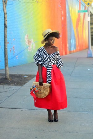 red Hermes scarf - red midi asos skirt