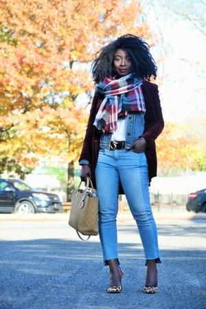 maroon velvet Guess jacket - blue denim Gap jacket - beige vintage dior bag