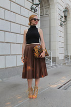 black American Apparel blouse - brown roberto cavalli bag
