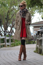 red Zara dress - Topshop coat - brown Topshop scarf