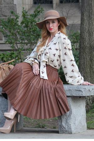brown asoscom blouse - tan Urban Outfitters hat - tan Prada bag