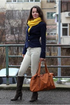 leather Inex bag - suede leather Leonardo boots - cotton Bershka blazer