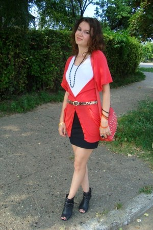 red cotton blouse Dorothy Perkins blazer - black Local store boots
