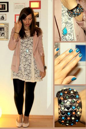 light blue H&M necklace - light pink lace h&m divided dress
