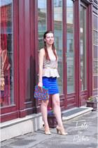 blue peplum dress dress