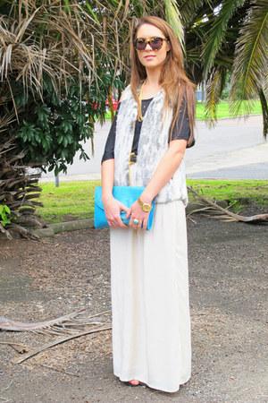 cameo skirt - Karen Walker sunglasses - Sportsgirl vest