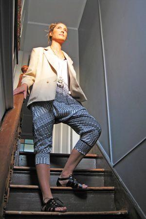 beige vintage blazer - gray Frankie Sunshine pants