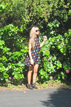 zomp boots - Frankie sunshine Vintage dress - Levis shorts - YSL ring